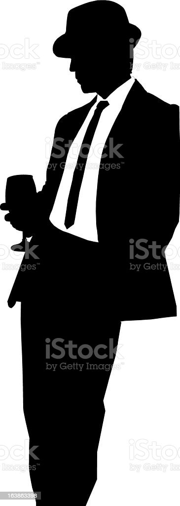 Man in hat with wine glass vector art illustration