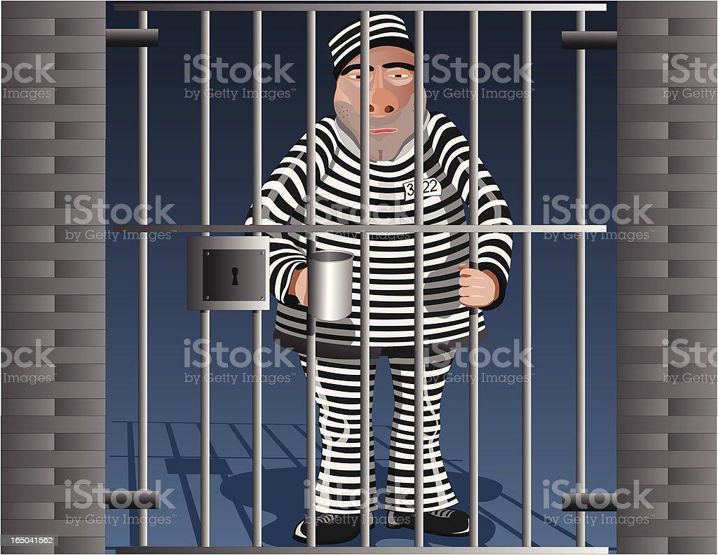 Man in Jail (Vector) vector art illustration