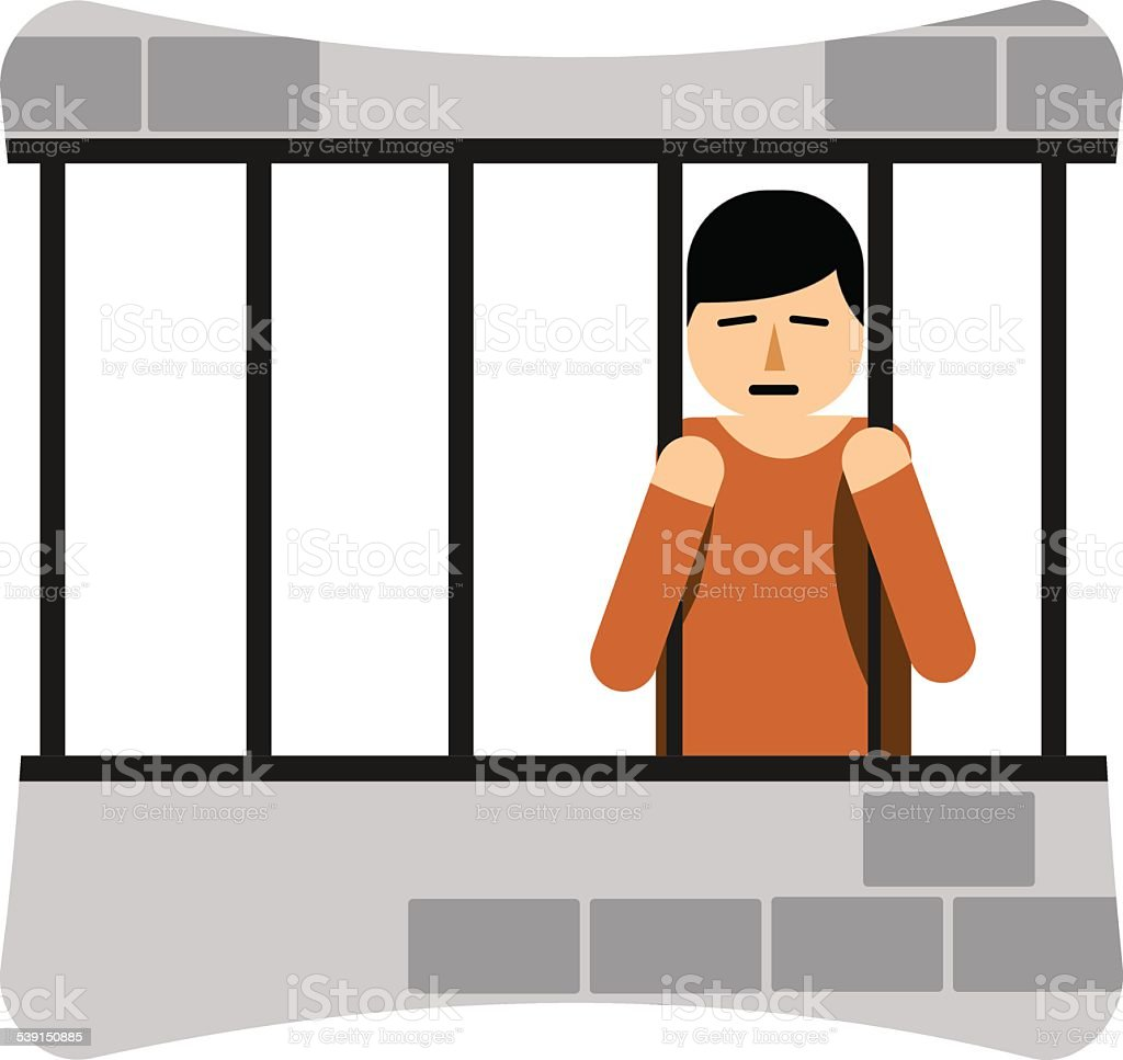 Man in Jail vector art illustration