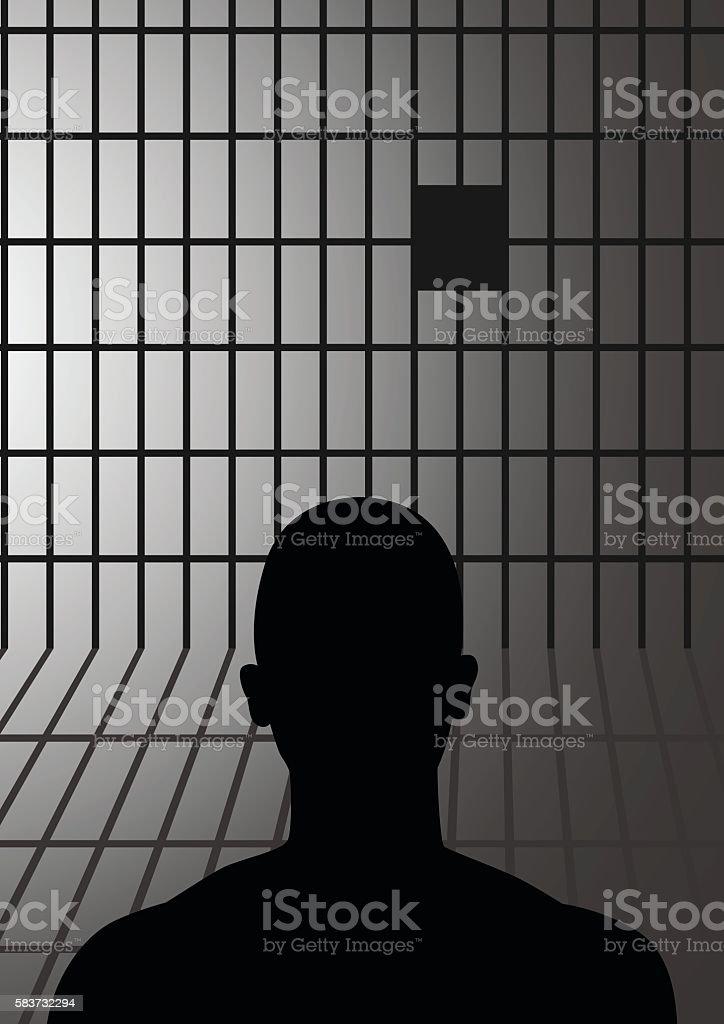 Man In Jail vector art illustration