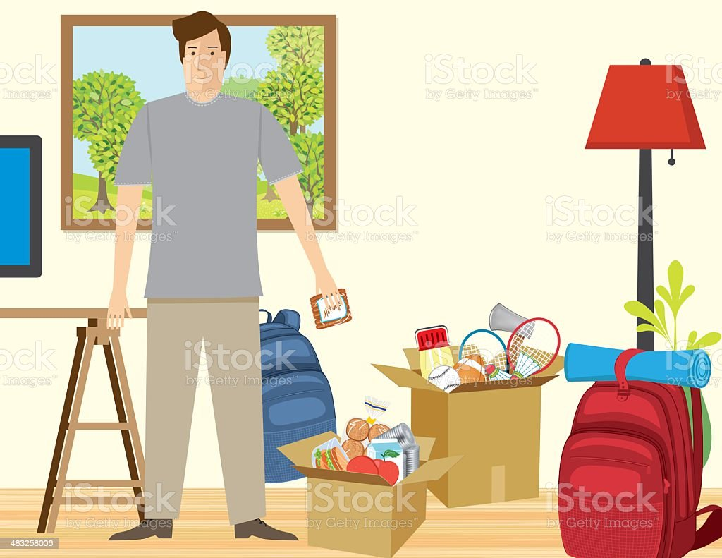 Man In Living room filled with items packed for vacation vector art illustration