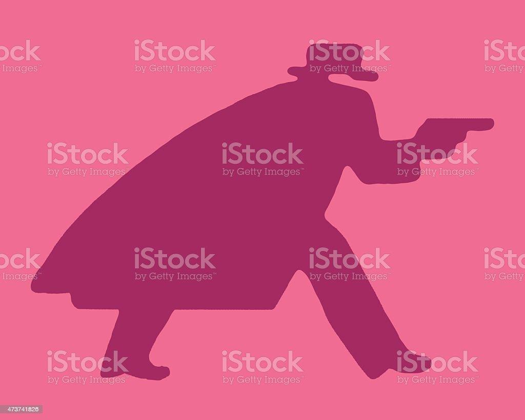 Man in Long Coat With Gun vector art illustration
