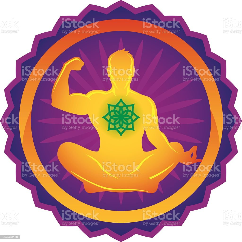 Man in lotus position vector art illustration
