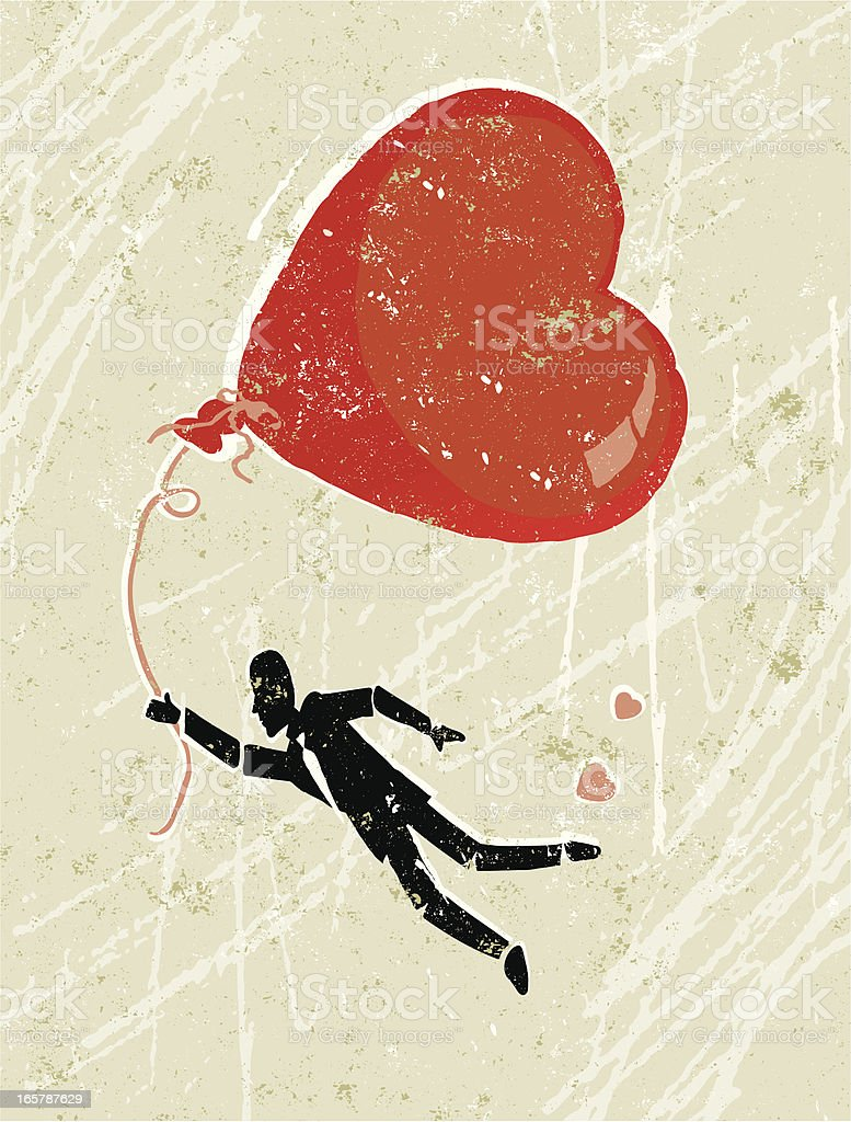Man in Love Floating on Air With a Heart Balloon royalty-free stock vector art