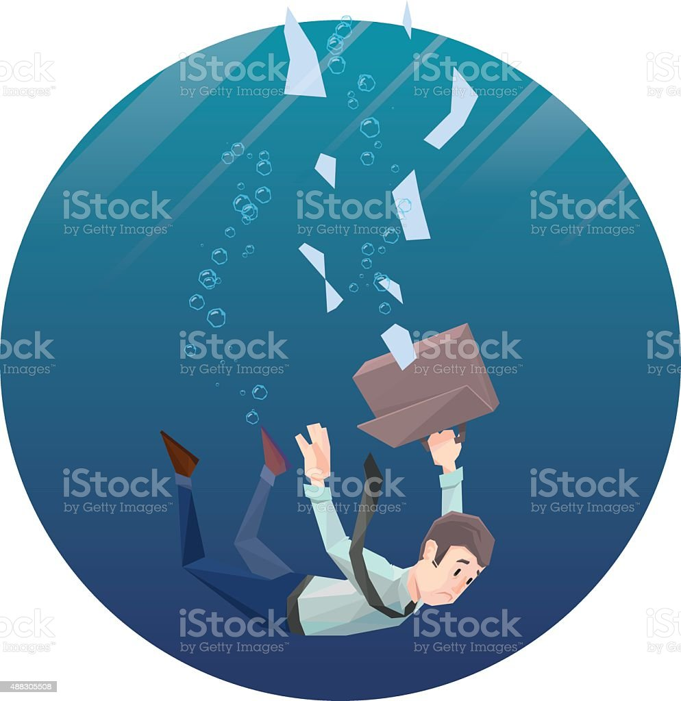 Man in office wear goes down under water. Round frame vector art illustration