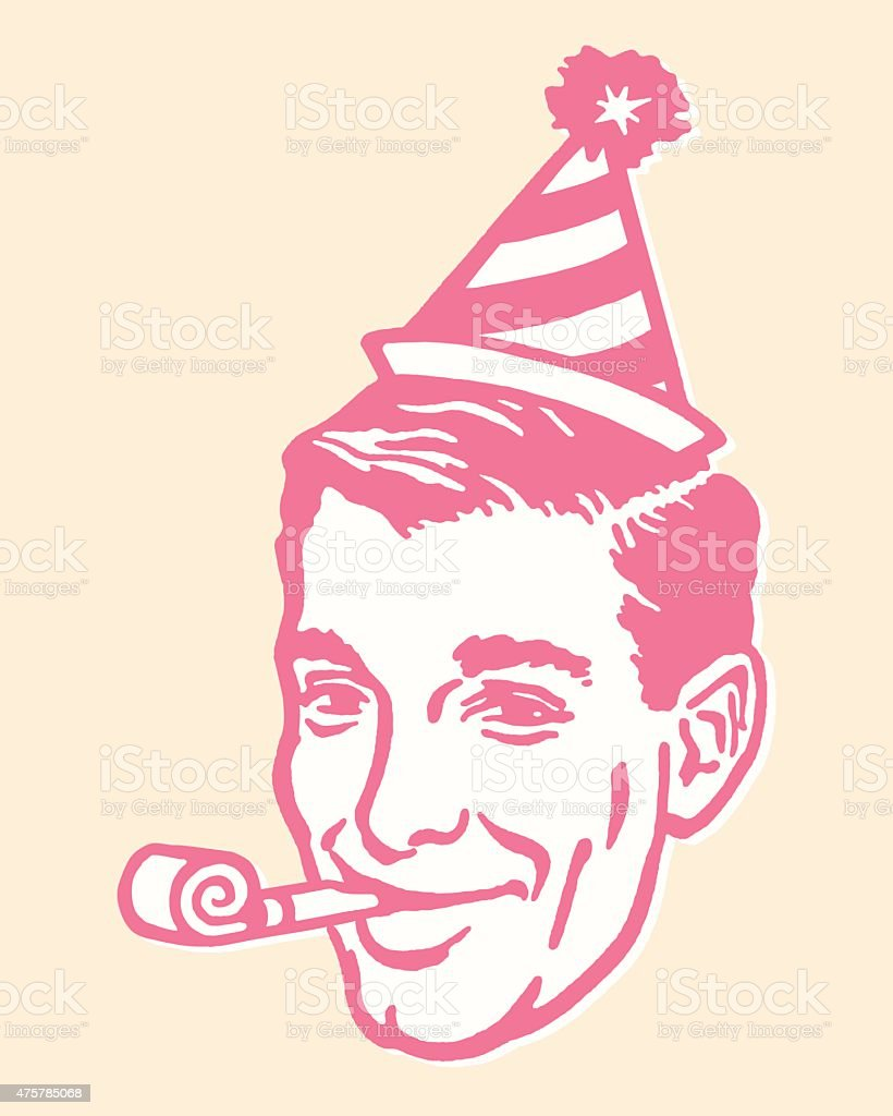 Man in Party Hat With Party Favor vector art illustration