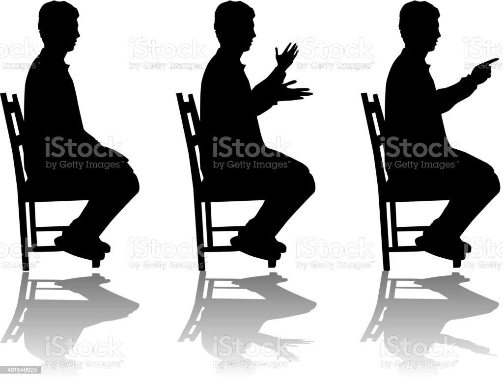 Man in position sitting , vectors work vector art illustration