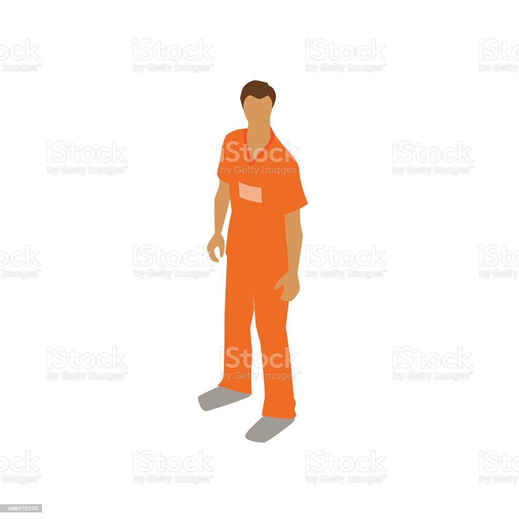 Man in prison jumpsuit illustration vector art illustration
