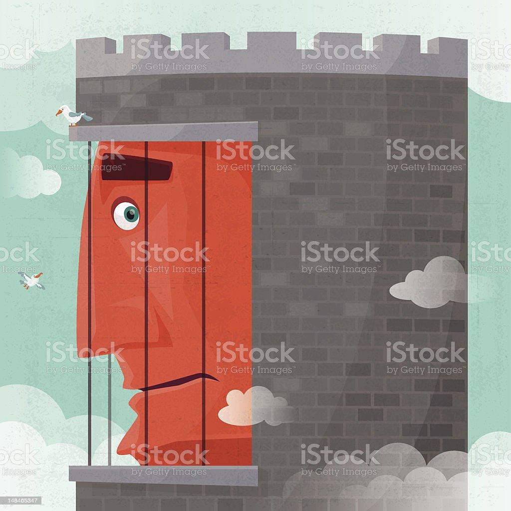 man in prison vector art illustration