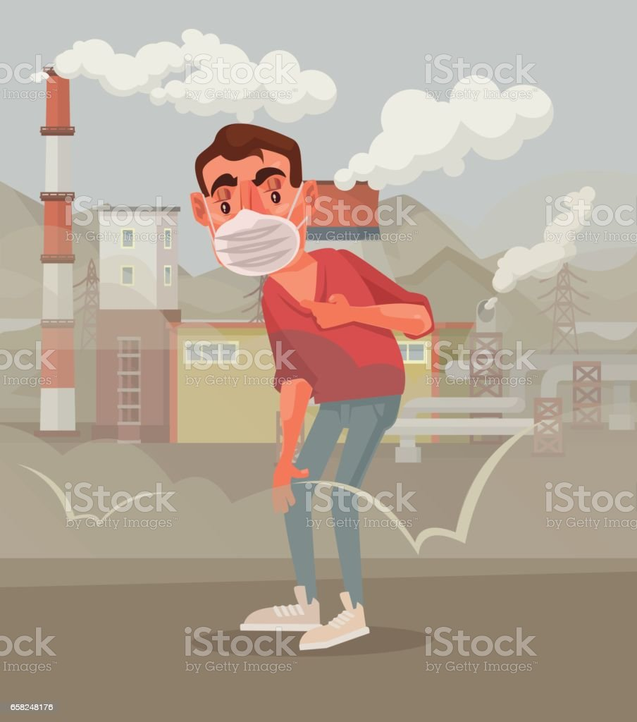 Man in protective mask. Polluted air vector art illustration