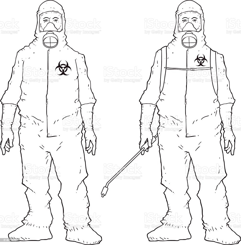 Man in protective suit vector art illustration