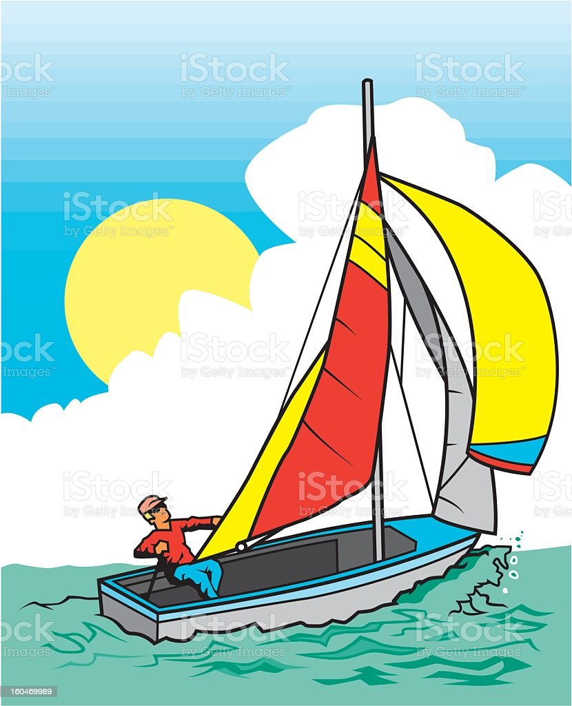 Man in Sailboat royalty-free stock vector art