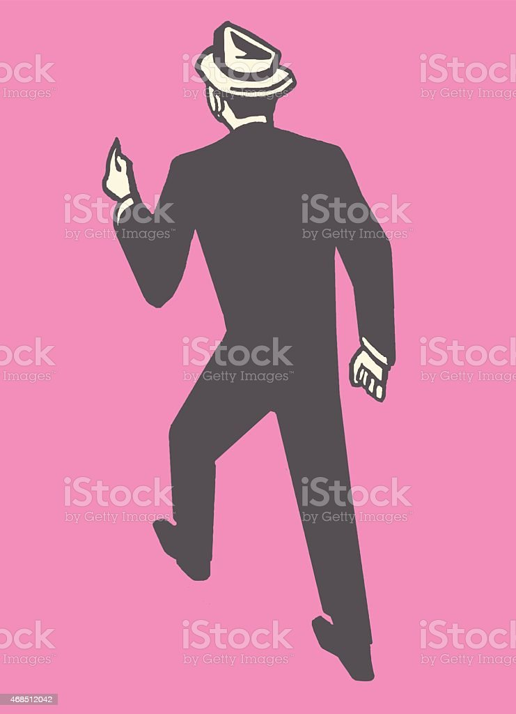 Man in Suit and Hat Walking Away vector art illustration