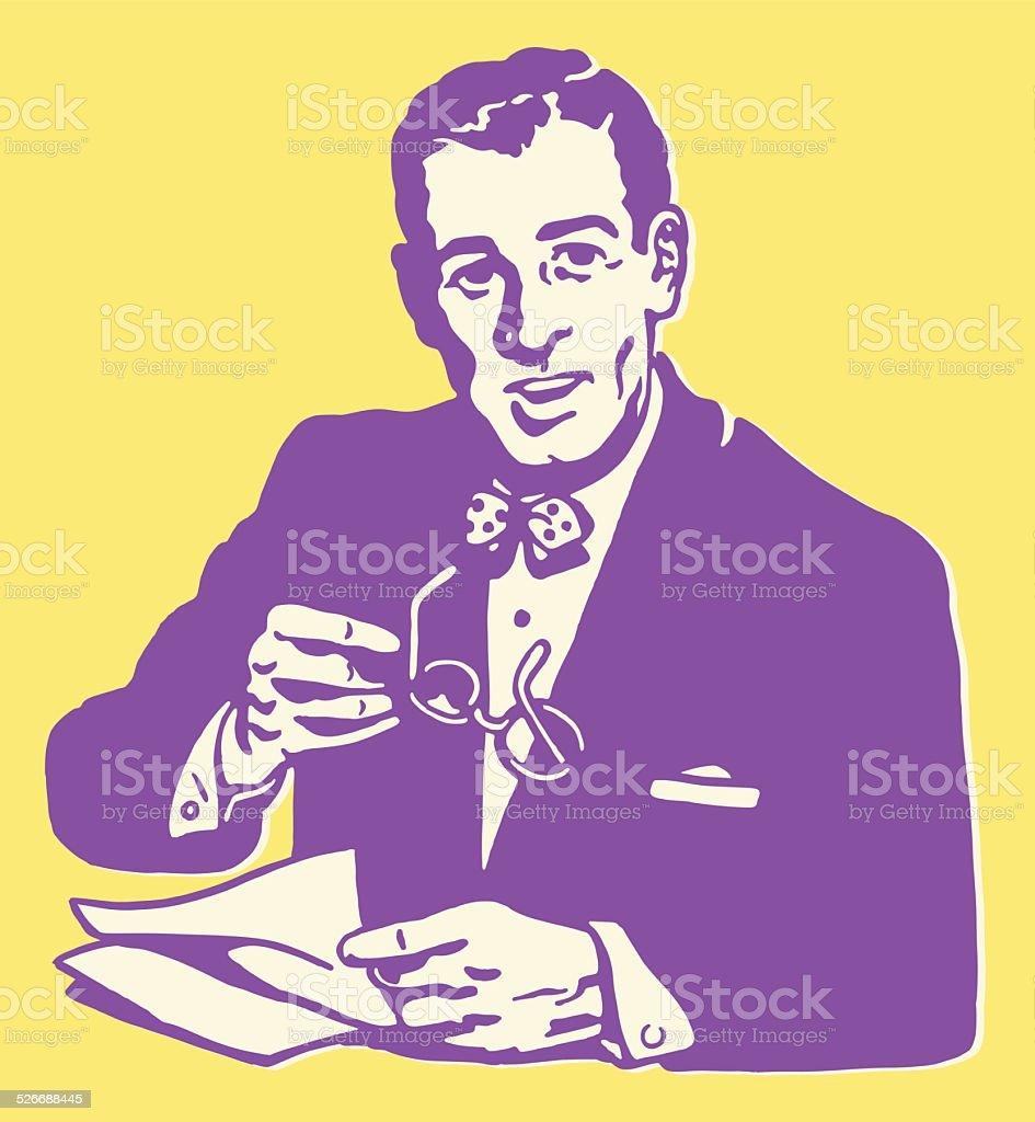 Man in Suit Holding Glasses vector art illustration