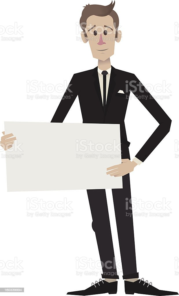 Man In Suit Holding Sign Center royalty-free stock vector art