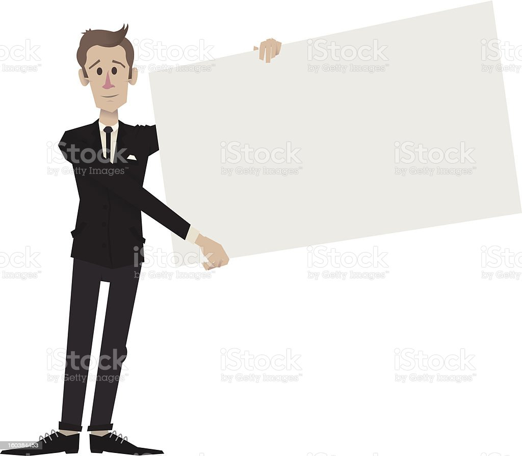 Man In Suit Holding Sign Next To Him royalty-free stock vector art