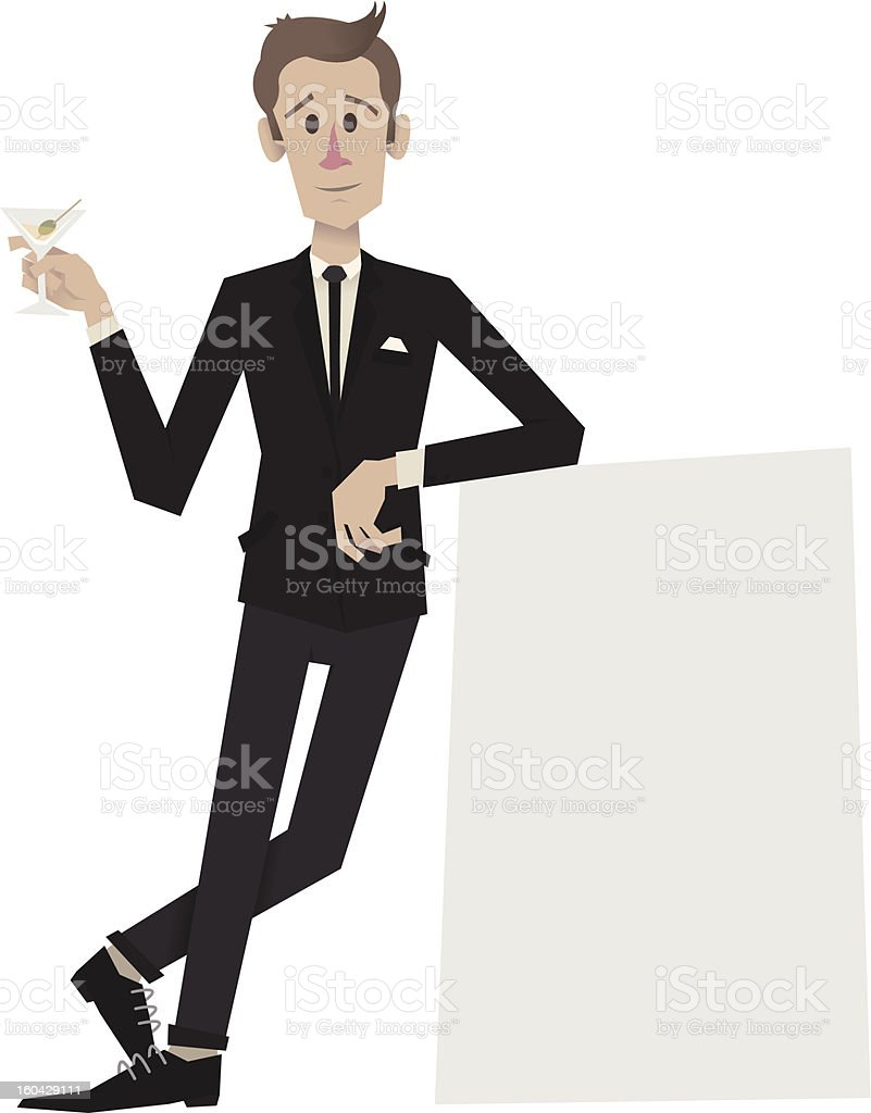 Man In Suit Leaning On Sign vector art illustration