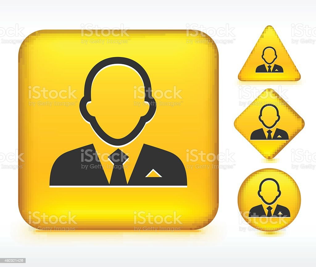 Man in Suit on Yellow Buttons vector art illustration