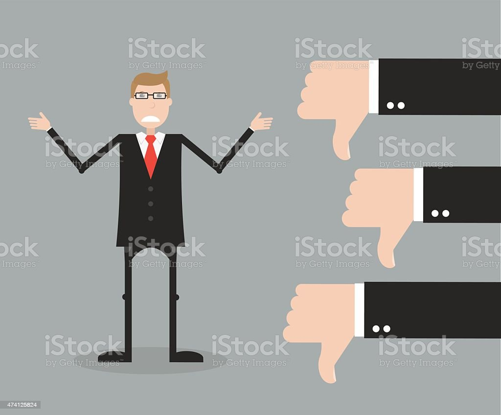 Man in suit receiving three thumbs down vector art illustration