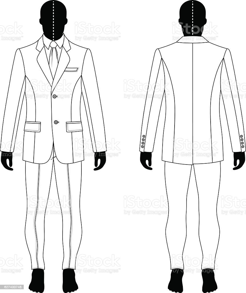 Man in suit vector art illustration