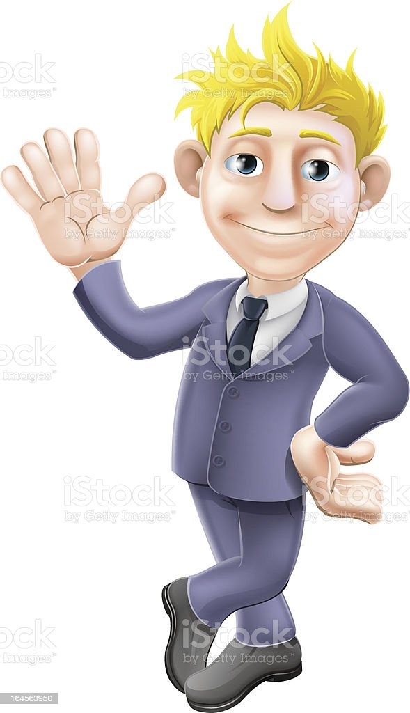 Man in suit waving cartoon vector art illustration