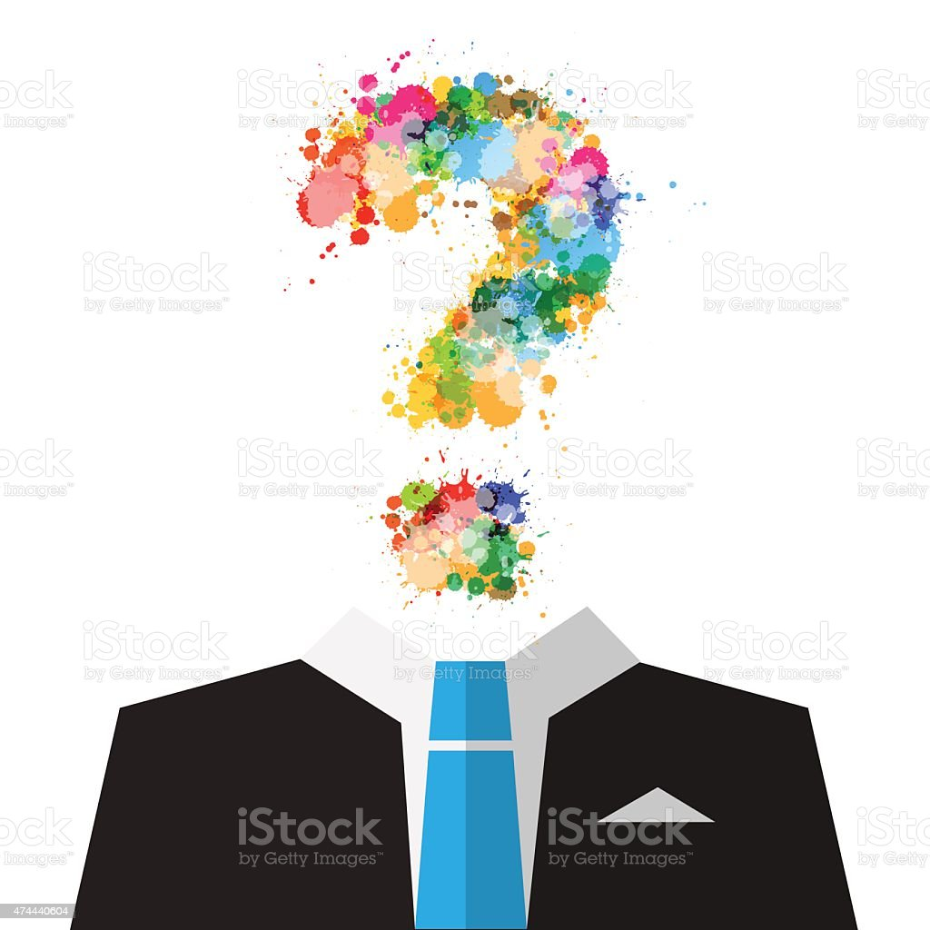 Man in Suit with Colorful Splashes Question Mark vector art illustration