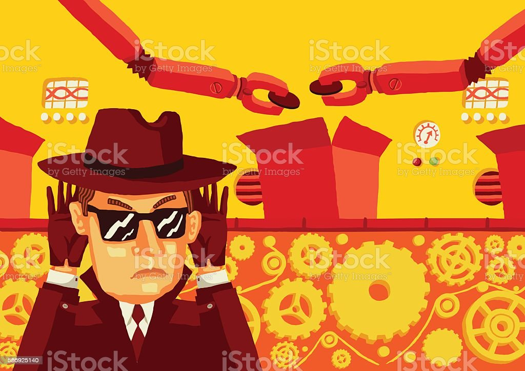 Man in sunglasses and hat secretly monitors the production. vector art illustration