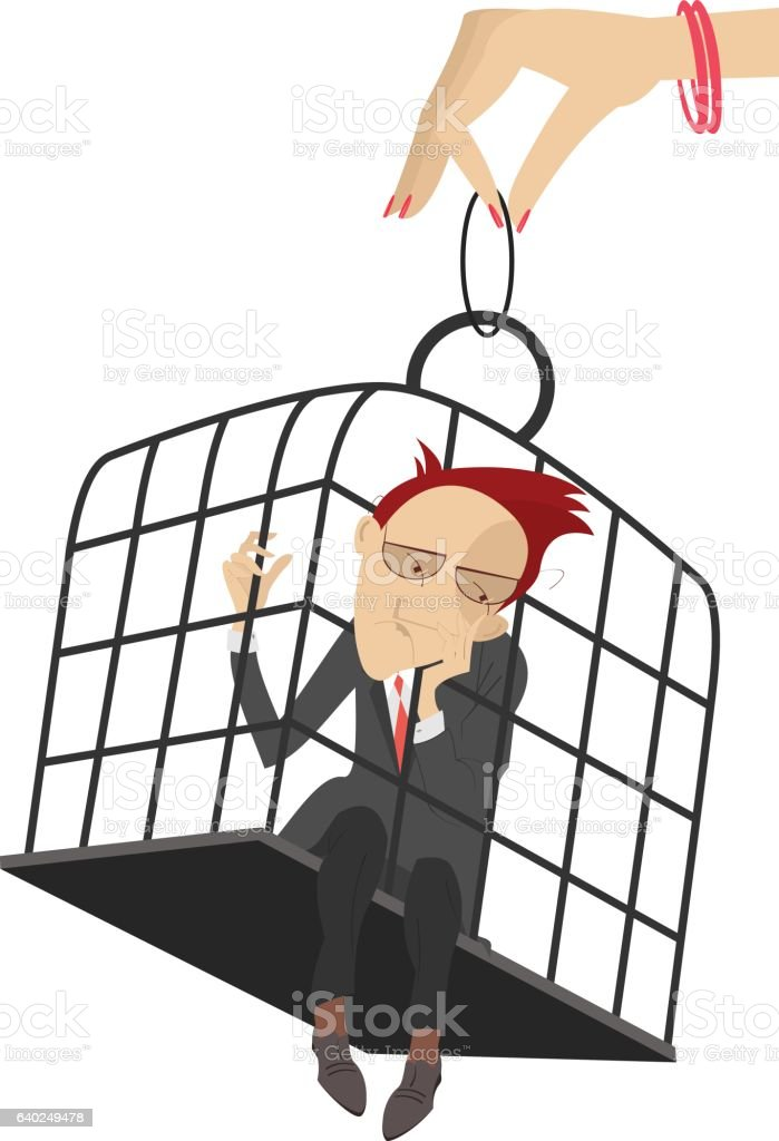 Man in the cage vector art illustration