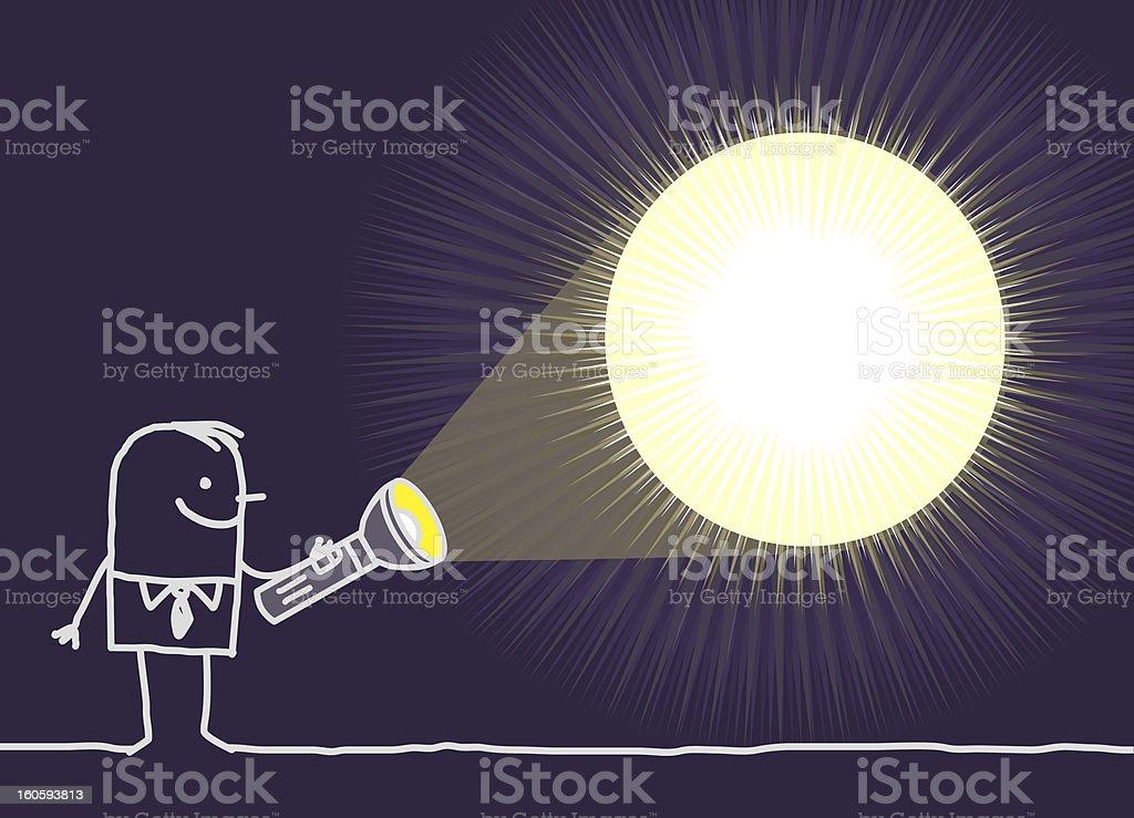 man in the dark with flashlight royalty-free stock vector art