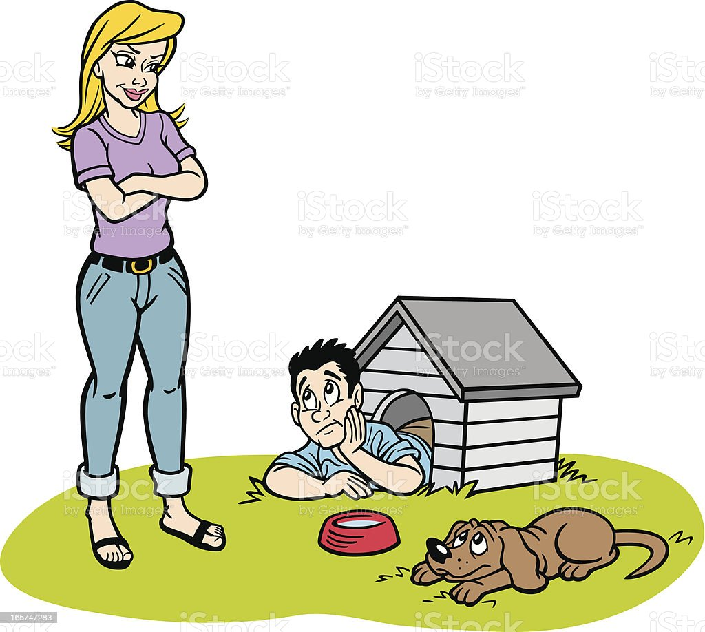 Man in The Doghouse cartoon royalty-free stock vector art