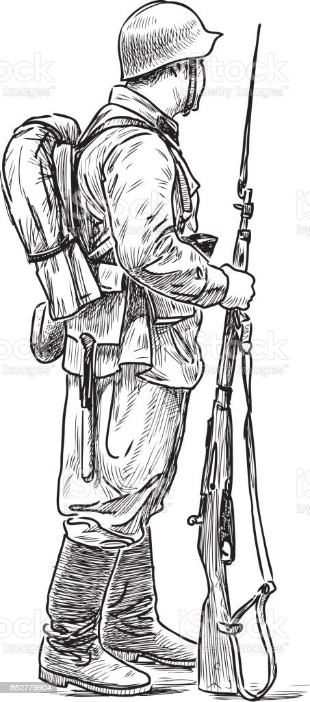 A man in the form of a soldier of the Second World War vector art illustration