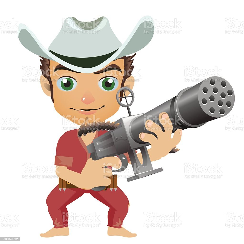 Man in the hat armed with machine gun vector art illustration