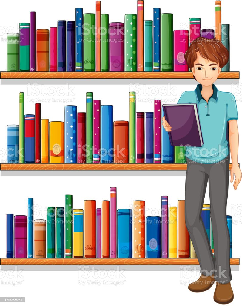Man in the library royalty-free stock vector art