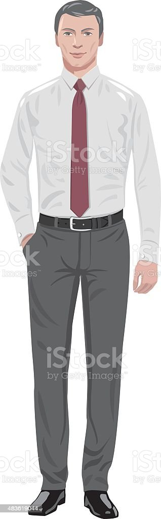 man in tie vector art illustration