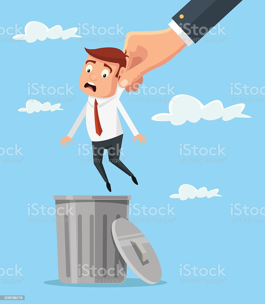 Man in trash. Vector flat cartoon illustration vector art illustration