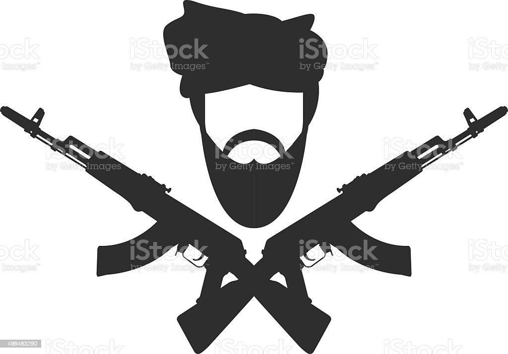 Man in turban two crossed AK-47, terroristm symbol vector art illustration