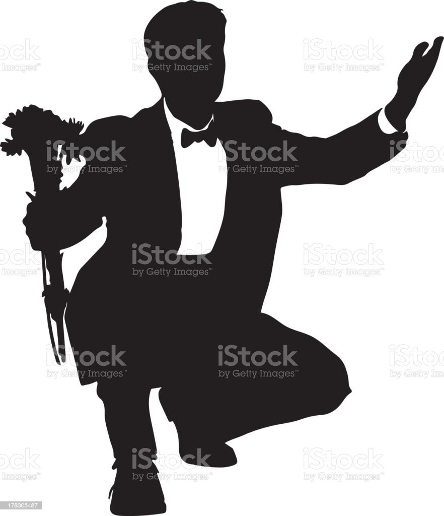 Man in tux with flowers silhouette royalty-free stock vector art