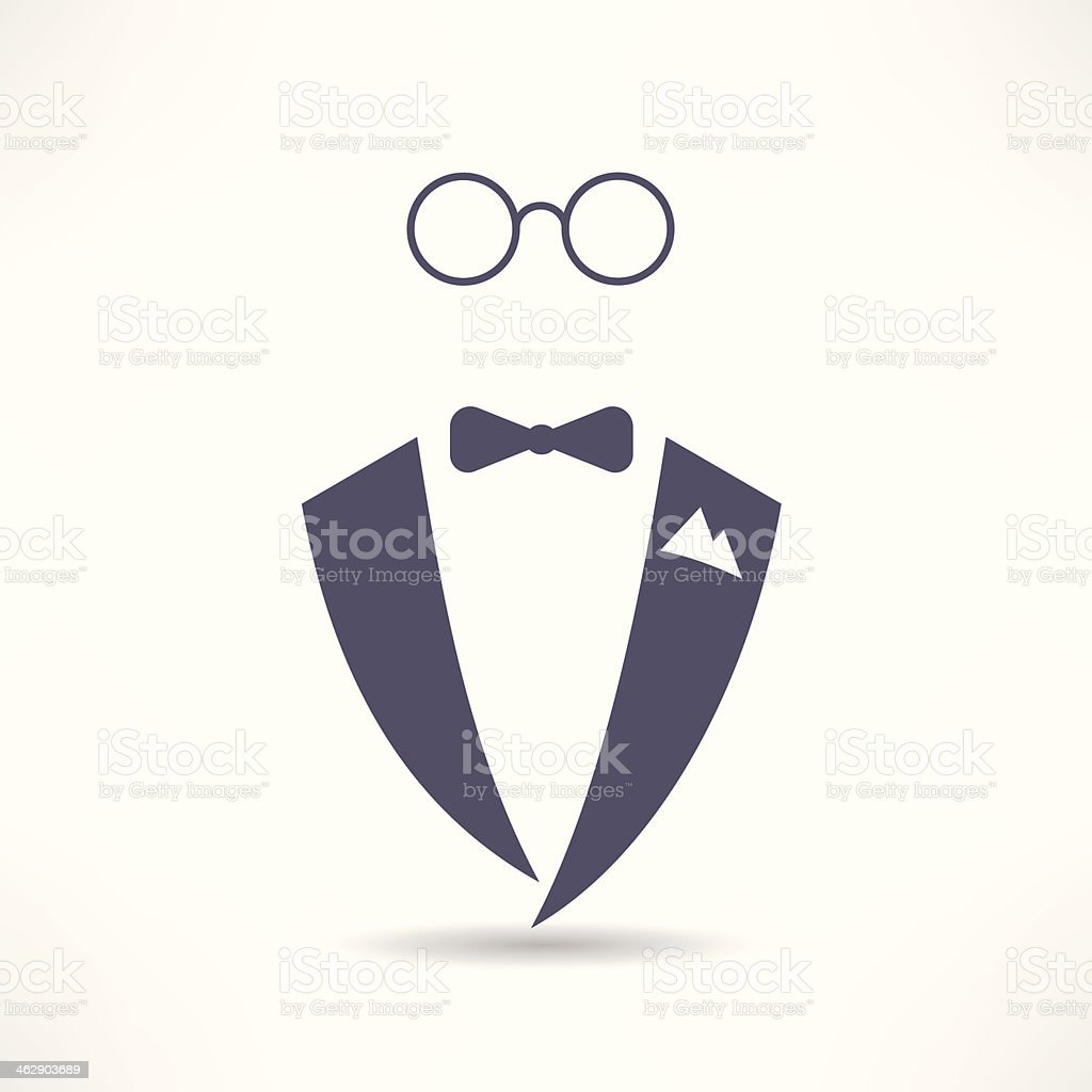 man in tuxedo icon vector art illustration