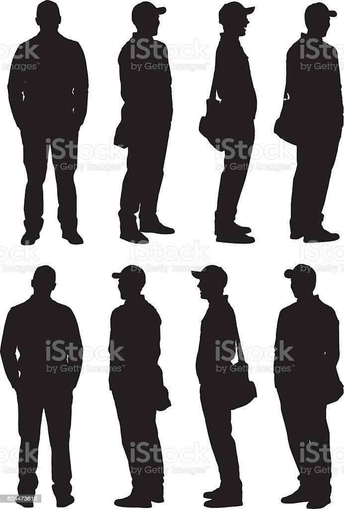Man in various action vector art illustration
