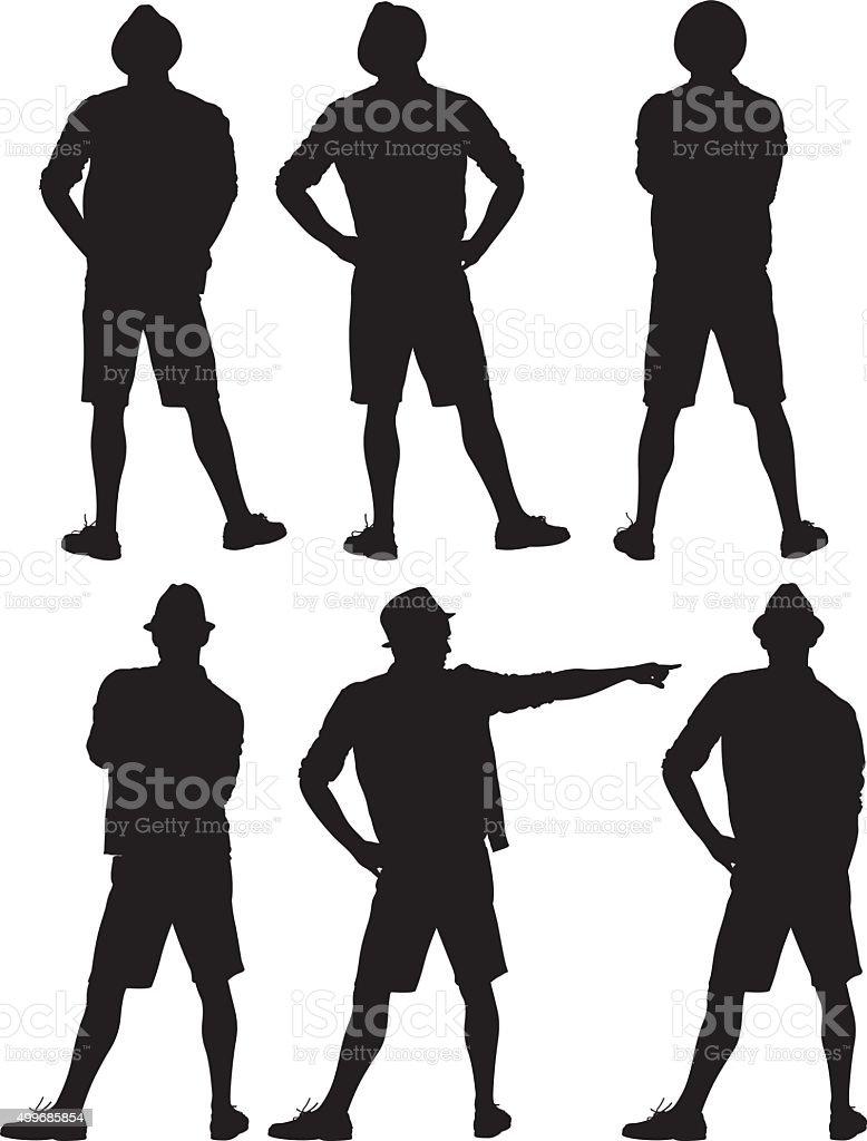 Man in various actions vector art illustration