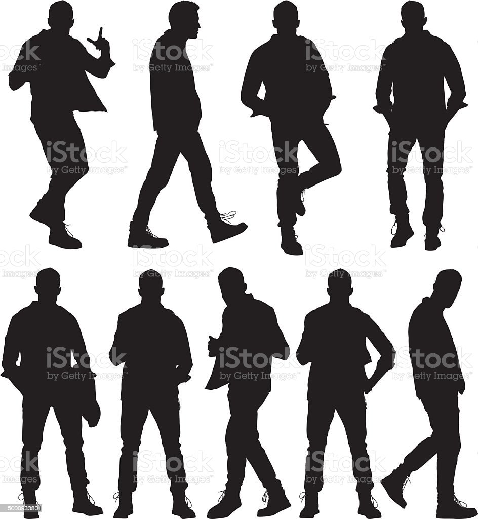 Man in various actions vector art illustration