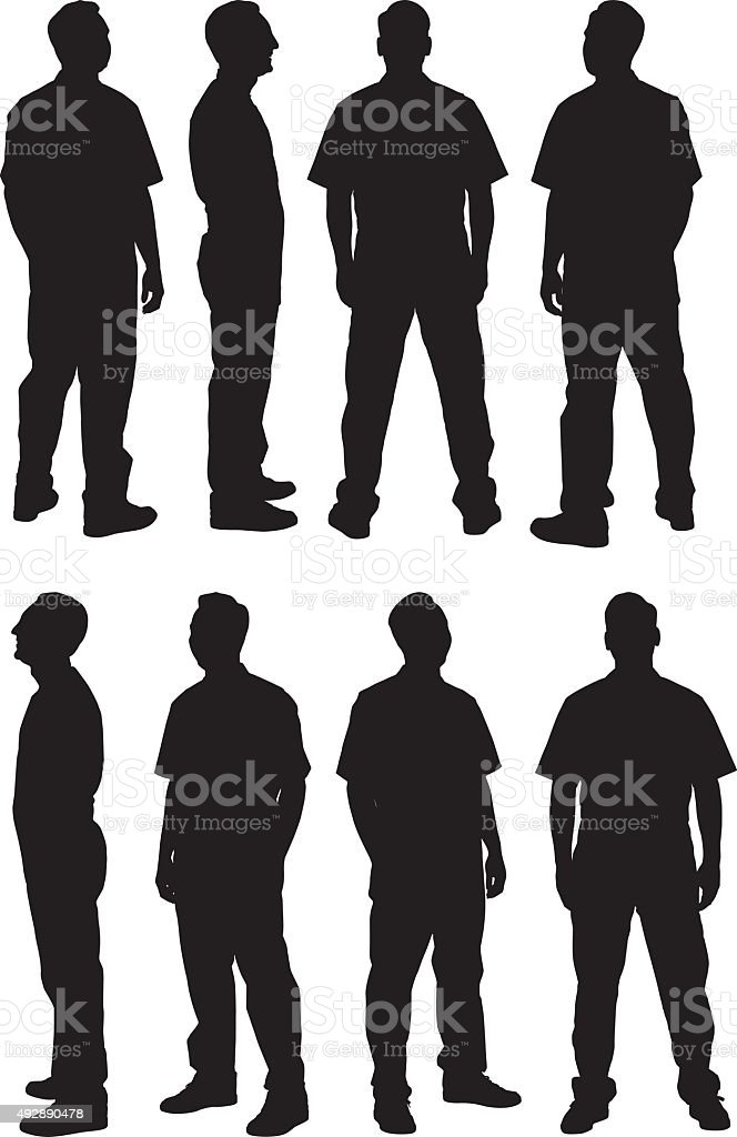 Man in various views vector art illustration