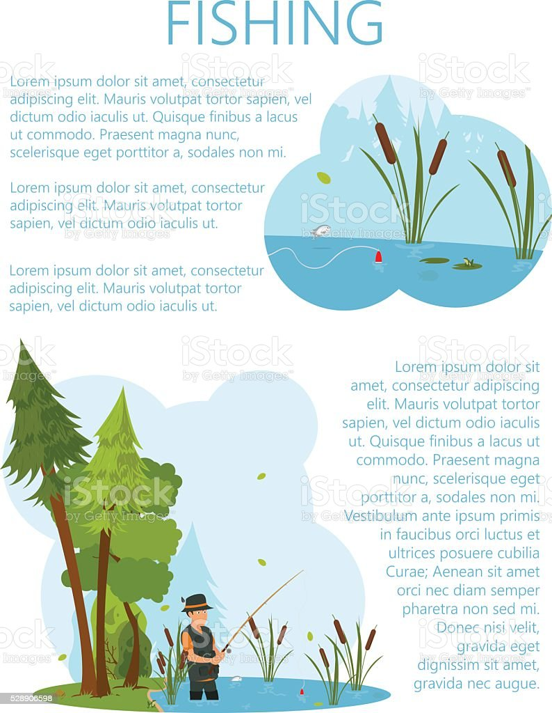 Man in waders fish in the pond. vector art illustration