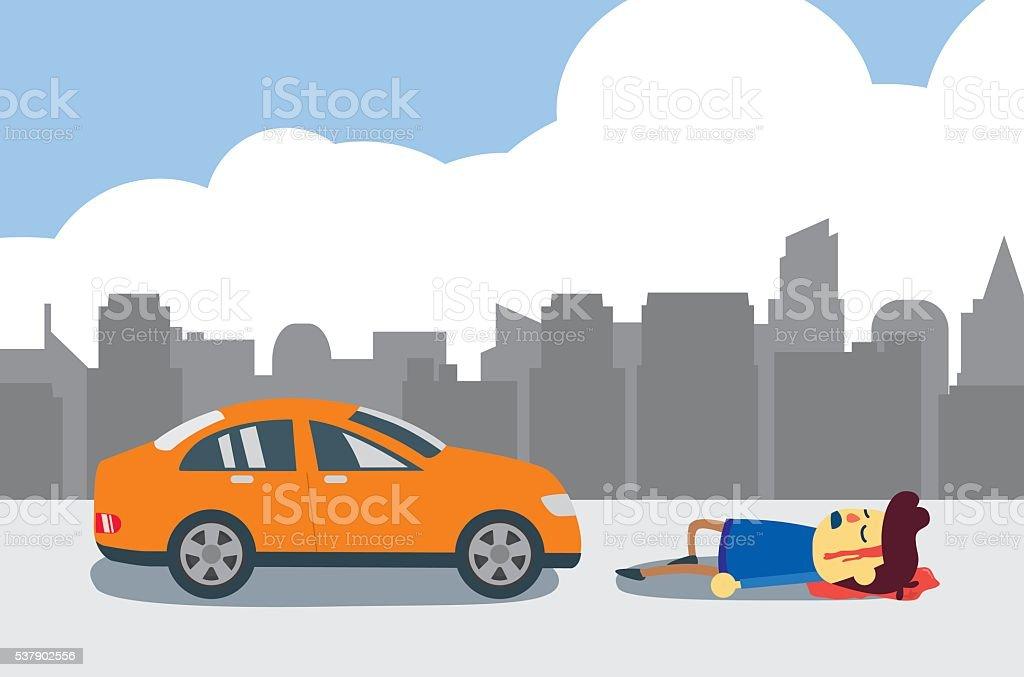 Man injured after car crash. vector art illustration