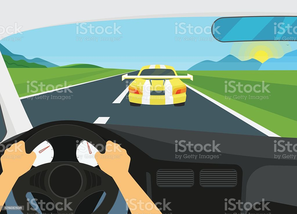 Man is driving racing speed car vector art illustration