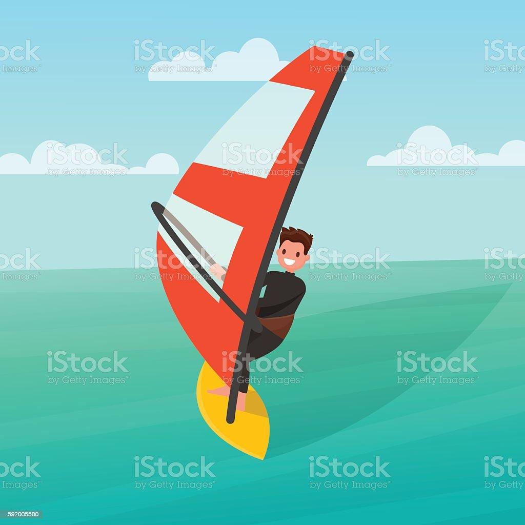Man is engaged in windsurfing. Vector illustration vector art illustration