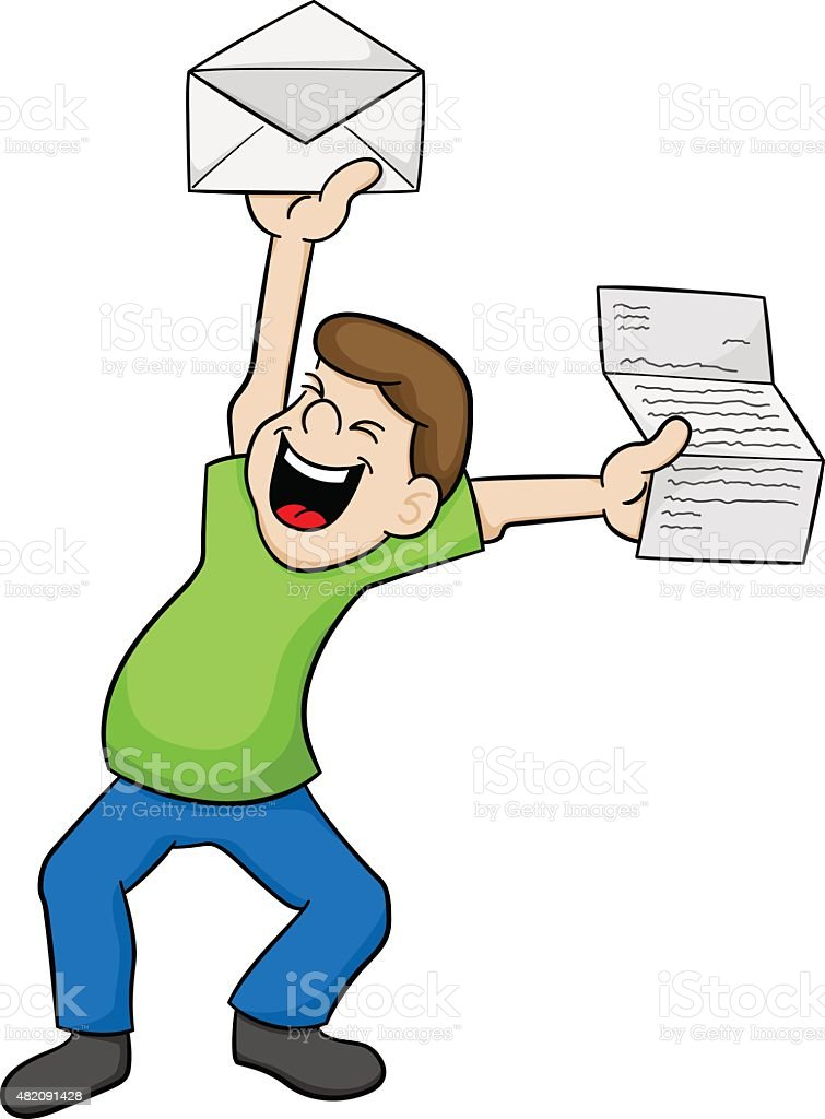 man is happy about good news vector art illustration