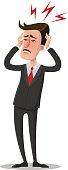 Man is having a headache. Vector illustration.