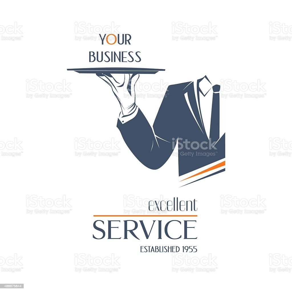 Man is holding a tray. Excellent service sign. vector art illustration