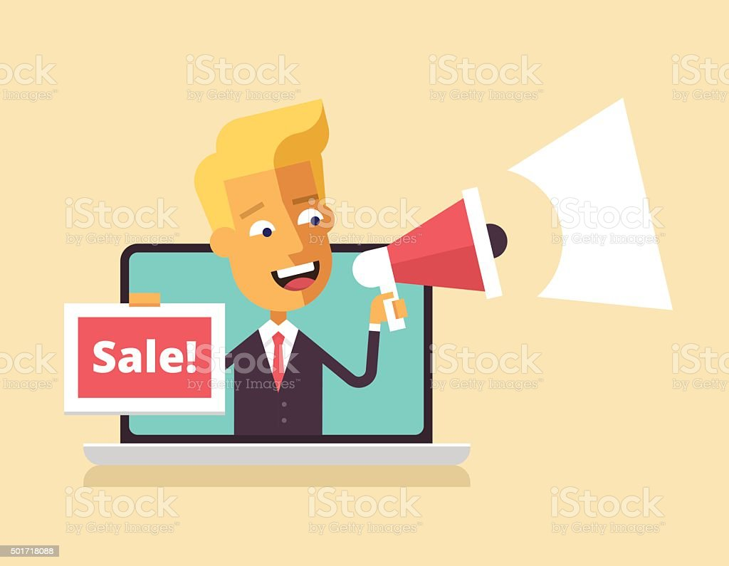 Man is leaning out of laptop with megaphone. vector art illustration